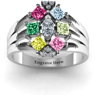 Arachna Centre Marquise and Princess Ring with Accents - The Name Jewellery™