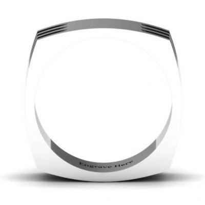Areo Grooved Square-shaped Men's Ring - The Name Jewellery™