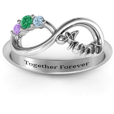 Aunt's Infinite Love Ring with Stones - The Name Jewellery™