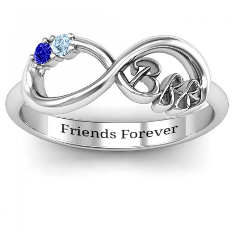 95f8409e8a48df BFF Friendship Infinity Ring with 2 - 7 Stones - The Name Jewellery™