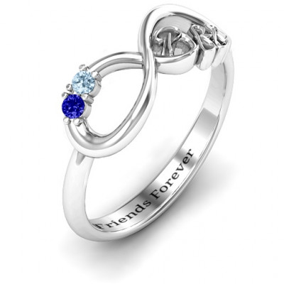 BFF Friendship Infinity Ring with 2 - 7 Stones - The Name Jewellery™