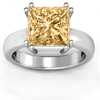 Basket Set Princess Cut Solitaire Ring - The Name Jewellery™