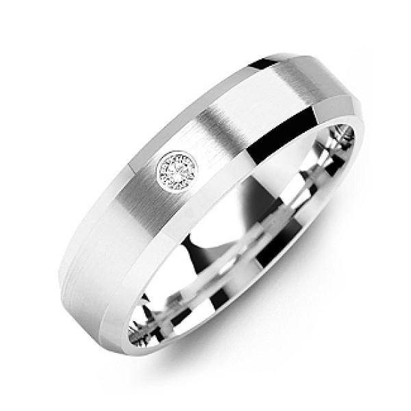 Beveled-Edge Brushed Men's Gemstone Ring - The Name Jewellery™