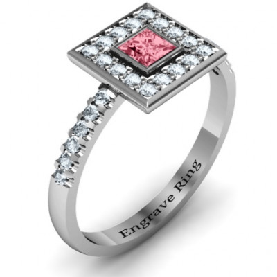 Bezel Princess Stone with Channel Accents in the Band Ring - The Name Jewellery™