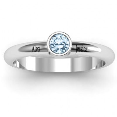 Bezel Set Solitaire Ring - The Name Jewellery™