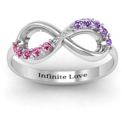Birthstone Infinity Accent Ring - The Name Jewellery™