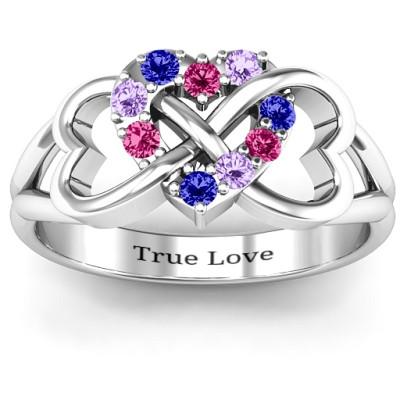 Birthstone Triple Heart Infinity Ring - The Name Jewellery™