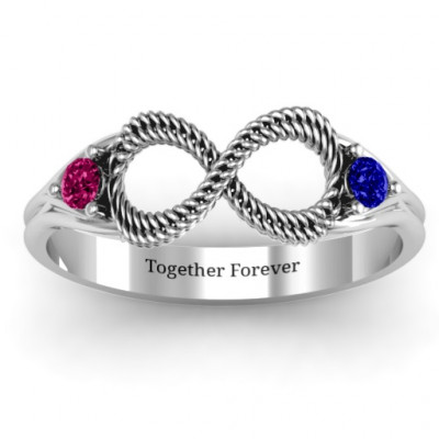 Braided Infinity Ring with Two Stones - The Name Jewellery™