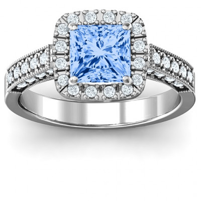 Brilliant Princess Ring with Profile Accents - The Name Jewellery™