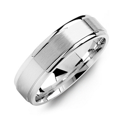 Brushed Centre Men's Ring with Polished Edges - The Name Jewellery™
