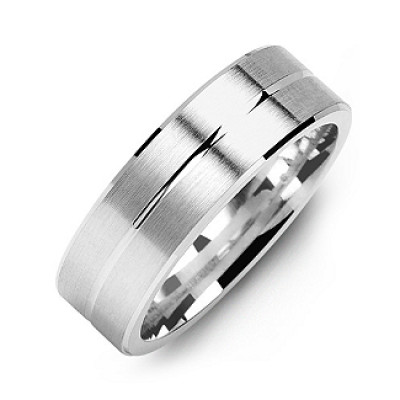 Brushed Men's Ring with Beveled Edges and Lined Centre - The Name Jewellery™