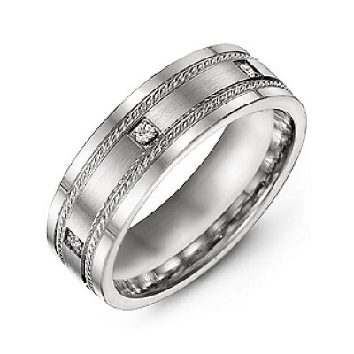 Brushed Men's Ring with Rope Detail and Gemstone Accents - The Name Jewellery™