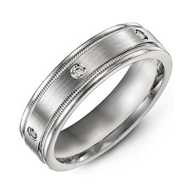 Brushed Milgrain Men's Ring with Gemstone Accents - The Name Jewellery™