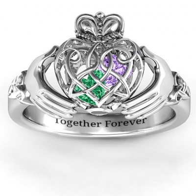 Caged Hearts Celtic Claddagh Ring - The Name Jewellery™