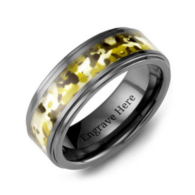Ceramic Band with Green Camouflage Insert - The Name Jewellery™