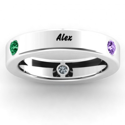 Circular Band 2-5 Stones Ring - The Name Jewellery™