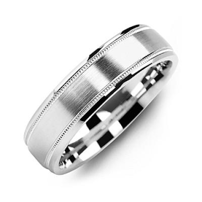 Classic Brush Milgrain Men's Ring - The Name Jewellery™