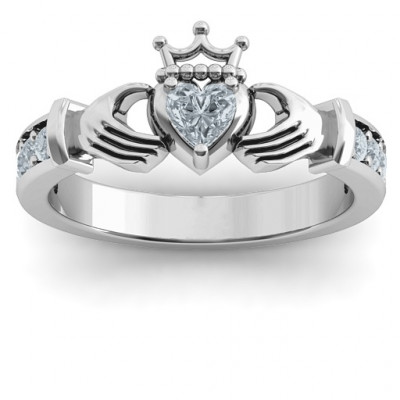 Classic Claddagh Heart Cut Ring with Accents - The Name Jewellery™