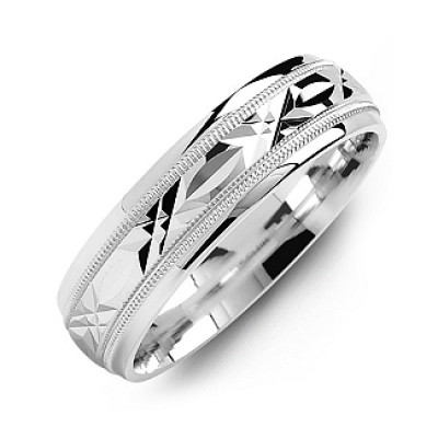 Classic Men's Ring with Diamond Cut Pattern - The Name Jewellery™