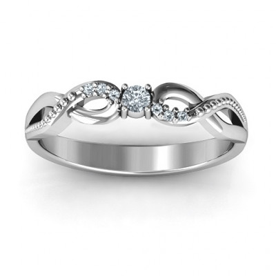 Classic Solitare Sparkle Ring with Accented Infinity Band - The Name Jewellery™