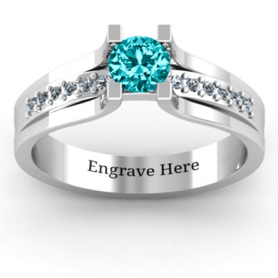 Column Set Solitaire Ring - The Name Jewellery™