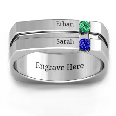 Crevice Grooved Square-shaped Gemstone Men's Ring - The Name Jewellery™