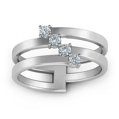 Diagonal Dazzle Ring With 4-5 Gemstones - The Name Jewellery™