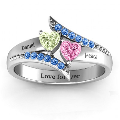 Diagonal Dream Ring With Heart Stones - The Name Jewellery™