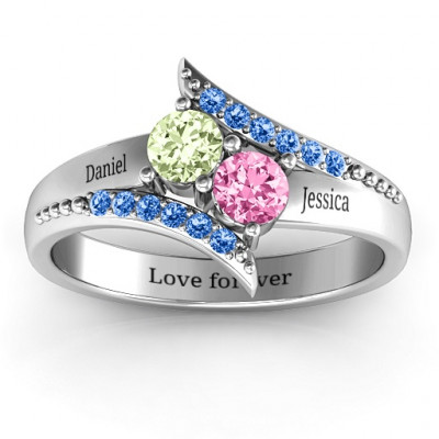 Diagonal Dream Ring With Round Stones - The Name Jewellery™