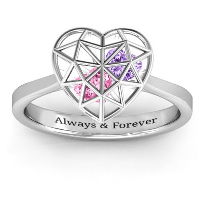 Diamond Heart Cage Ring With Encased Heart Stones - The Name Jewellery™