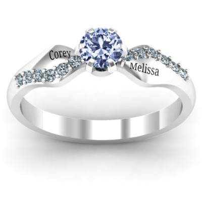Dimpled Solitaire with Accents Ring - The Name Jewellery™