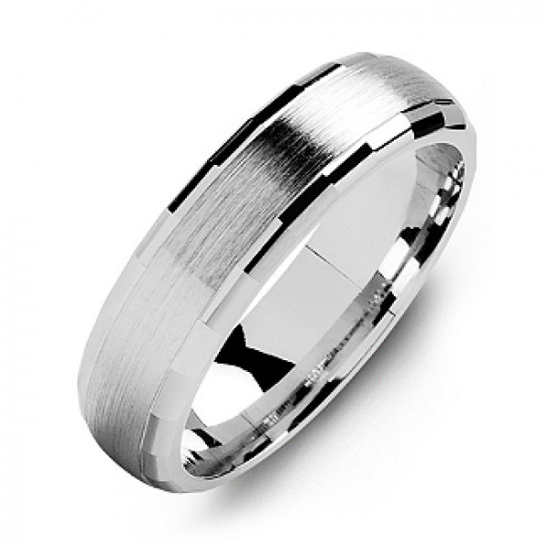 Dome-Shaped Brushed Men's Ring with Baguette Edges - The Name Jewellery™