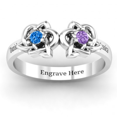 Double Celtic Gemstone Ring - The Name Jewellery™