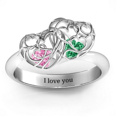 Double Heart Cage Ring with 1-6 Heart Shaped Birthstones - The Name Jewellery™