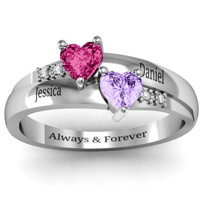 Double Heart Gemstone Ring with Accents - The Name Jewellery™