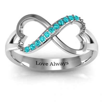 Double Heart Infinity Ring with Accents - The Name Jewellery™