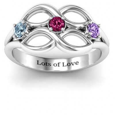 Double Infinity Ring with Triple Stones - The Name Jewellery™