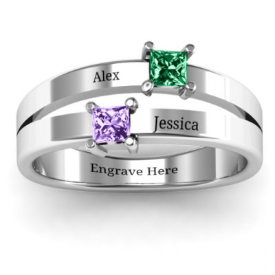 Double Princess Cut Ring - The Name Jewellery™