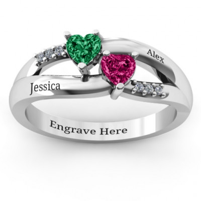Dual Hearts with Accents Ring - The Name Jewellery™