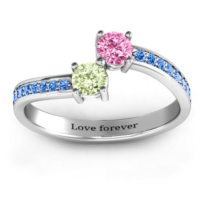 Elegant Accent Two Stone Ring - The Name Jewellery™