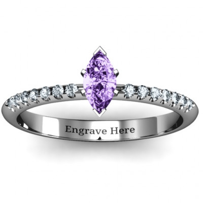 Elegant Marquise with Accent Band Ring - The Name Jewellery™