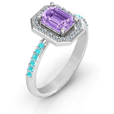 Emerald Cut Cocktail Ring with Halo - The Name Jewellery™