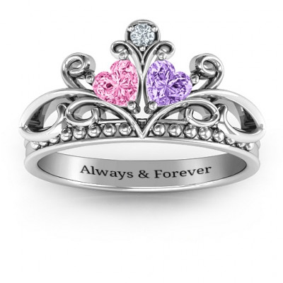 Ever Enchanted Double Heart Tiara Ring - The Name Jewellery™