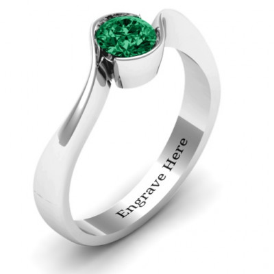 Fancy Solitaire Swirl Ring - The Name Jewellery™