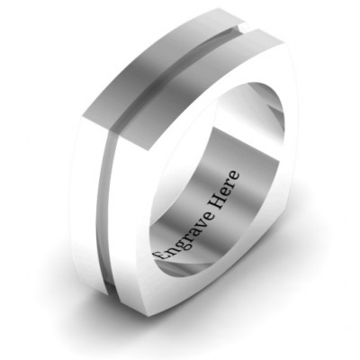 Fissure Grooved Square-shaped Men's Ring - The Name Jewellery™