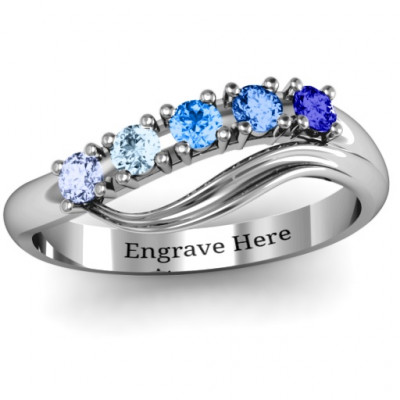 Five Stone Wave Ring - The Name Jewellery™