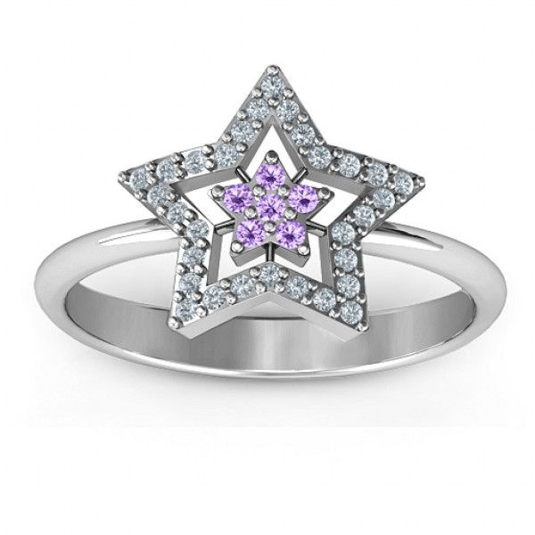 Floating Star with Halo Ring - The Name Jewellery™