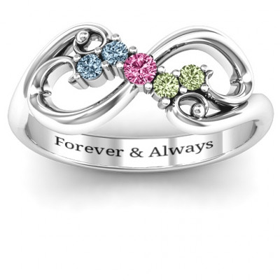 Flourish Infinity Ring with Gemstones - The Name Jewellery™