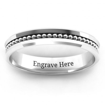 Forge Beaded Groove Bevelled Women's Ring - The Name Jewellery™