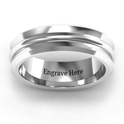 Forge Bevelled and Banded Men's Ring - The Name Jewellery™